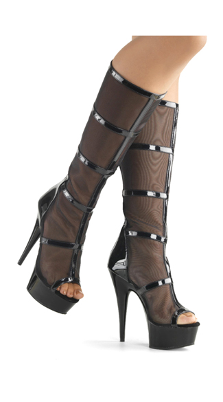 caged mesh knee high boot knee high boots black knee