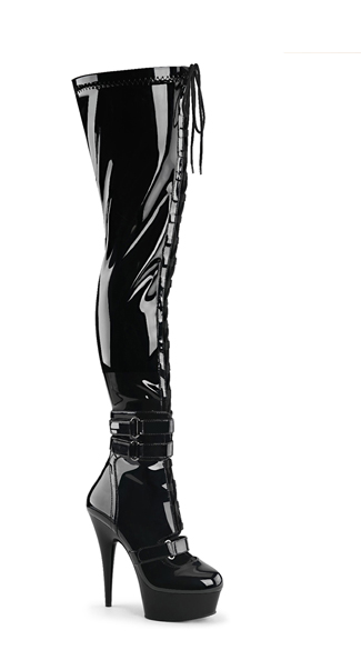 "6"" Lace-Up Thigh High Boots"