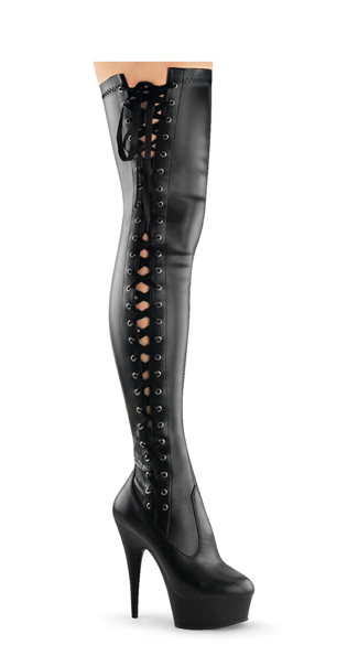 6 Inch Side Laced Pf Thigh Boot, Side Zip