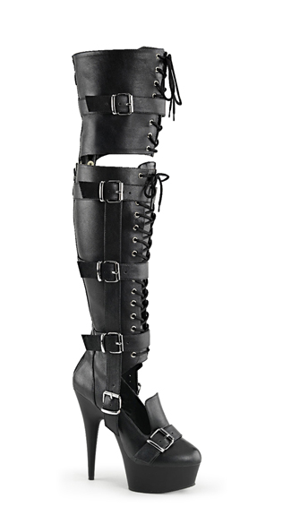 "6"" Over-The-Knee Lace-Up Boots, Lace-Up Boots, Thigh High Boots"
