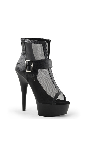 Netted Statement 6 Inch Open Toe Bootie