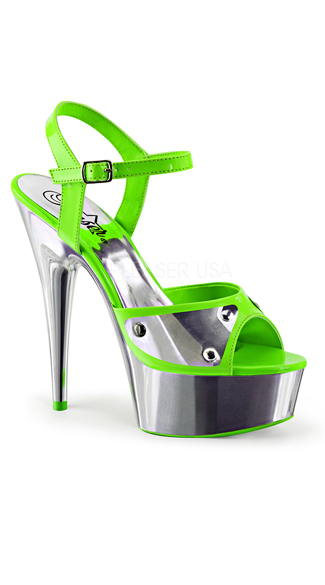 "6"" Simulated Metal Chrome Sandals"