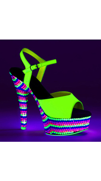 "6"" Patent Leather Sandal with UV Reactive Stones"