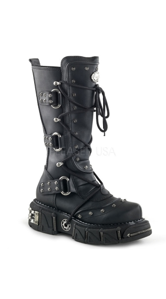 Lace Up Buckle Side Combat Boot