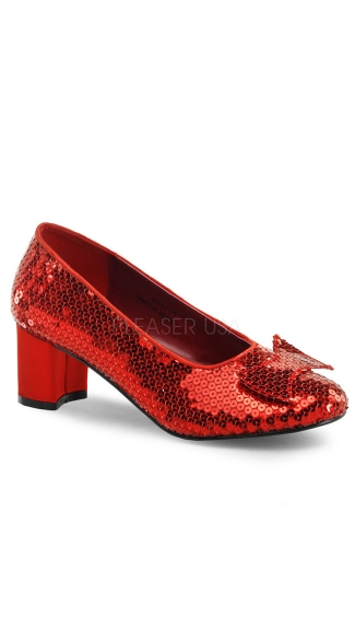 "Red Sequin Pump with 2"" Heel"