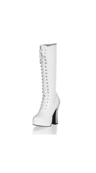 White Platform Lace Up Boot, 5 Inch White Chunky Heel Platform, Sexy White Platform Boot - Yandy.com
