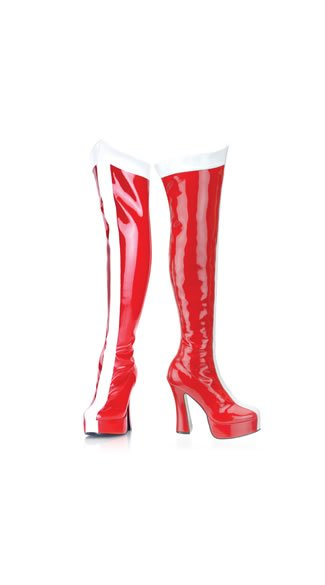 Red and White Striped Patent Thigh High Boot, 5 Inch Heel Red and White Striped Thigh Boot, Sexy Superhero Style Boot