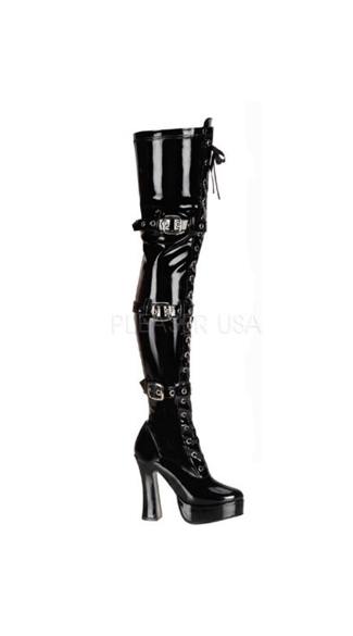 Electra Buckle and Lace Boots, Sexy Thigh High Boot, Front Lace Up Boot