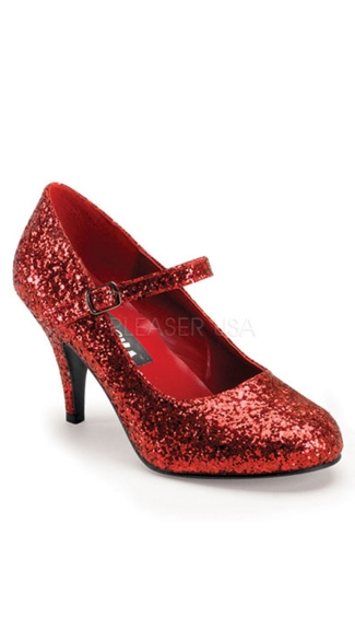 Glinda Glitter Mary Janes, Red Glitter Shoes, Red Glitter Pumps