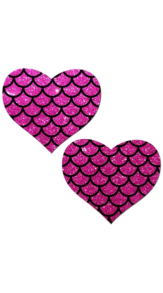 Hot Pink Glitter Heart Pasties With Scales