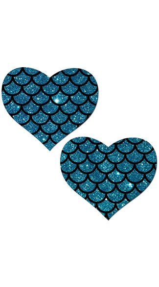 Teal Glitter Heart Pasties With Scales