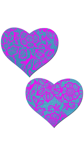 Blue and Pink Satin Heart Pasties