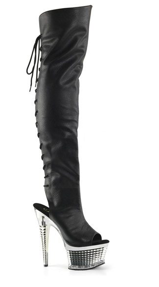 "6 1/2"" Lace-Up Thigh High Boots, Lace-Up Boots, Faux Leather Thigh High Boots"