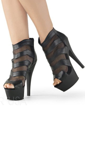 Mesh Kiss Ankle Boot, High Heel Booties, Platform Booties