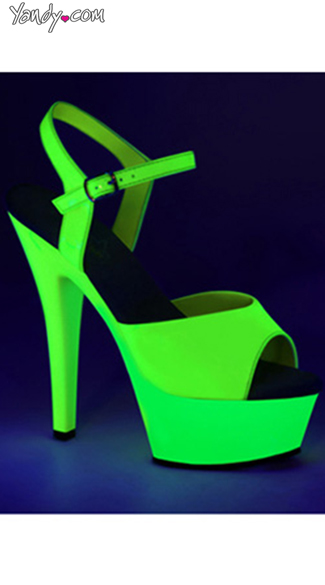 Neon Kiss Platform, UV Reactive High Heels, UV Reactive Platforms