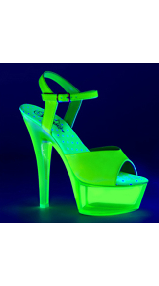 Neon Green UV Reactive Platform, Blacklight Platforms, Blacklight High Heels
