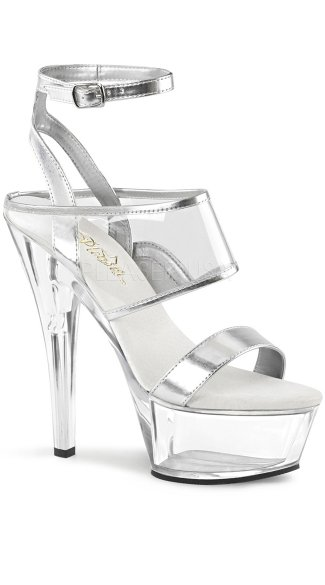 Silver Clear Ankle Strap Platforms