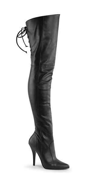 5 Inch Lace Up Thigh High Leather Boot