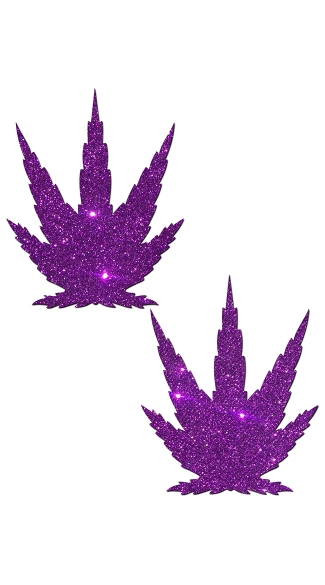 Leaf In Glittery Royal Purple, Marijuana Leaf Pasties, Pot Leaf Pasties