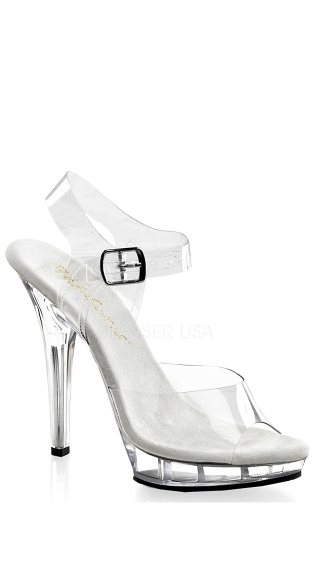 "5"" Heel Clear Ankle Strap Sandal, Sexy Clear Sandal"