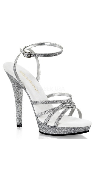 "5"" Heel Glitter Strappy Wrap Around Sandal"