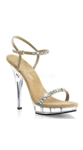 "5"" Heel Large Rhinestone Ankle Strap Sandal, Sexy Rhinestone Accented Sandal"