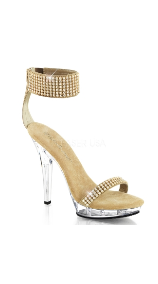 "5"" Heel Wide Ankle Band Back Zip Sandal"