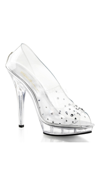 Queen Diva Glass Slipper with Rhinestones, Cute High Heels, Fashion Heels
