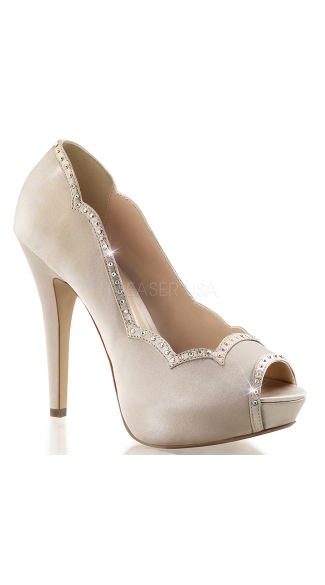 Scalloped Satin Pump with Rhinestones, Stiletto Shoes, Bridesmaid Shoes
