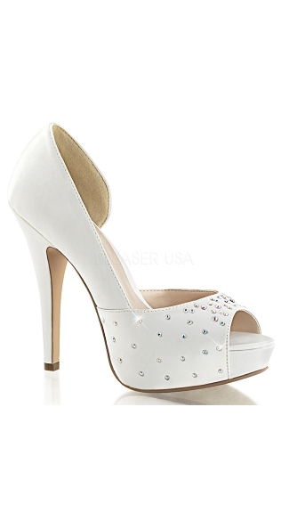 Satin Cut Out Pump with Rhinestones