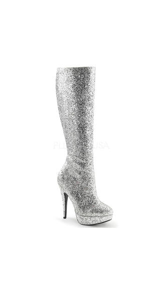 Glittering Nights Knee High Stiletto Boot, Platform High Heels, Glitter Boots for Girls