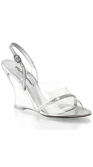 Sling Back Wedges with Rhinestone Strap, Clear Wedge Sling Backs