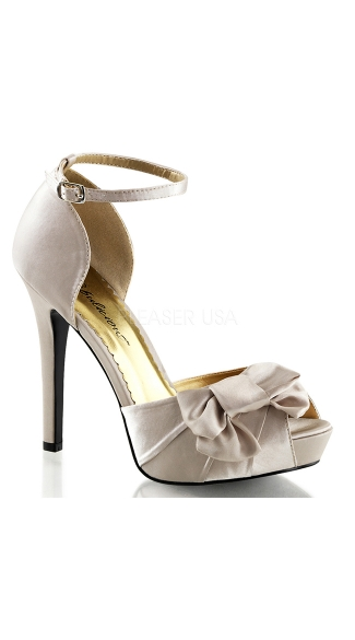 Satin Peep Toe Sandals with Ankle Strap and Bow