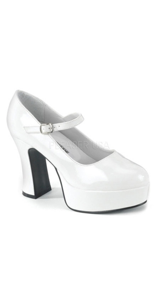 "Mary Jane Wide Platform Shoe with 4"" Heel"