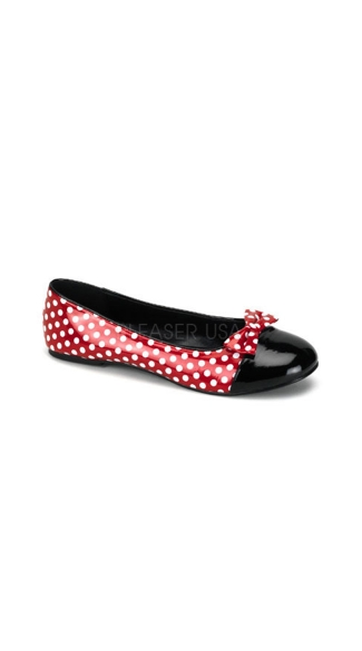 Red and White Polka Dot Flat Shoe, Cartoon Mouse Style Flat Shoe