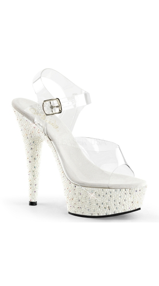 Clear Peep Toe 6 Inch Sandal with Pearl Base