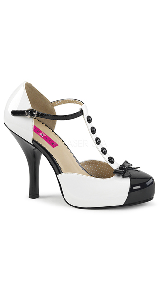 "4 1/2"" Retro T-Strap Pump, retro pumps - Yandy.com"