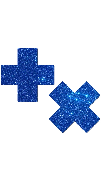 Blue Glitter Cross Pasties, Glitter Nipple Pasties, Cross Nipple Pasties