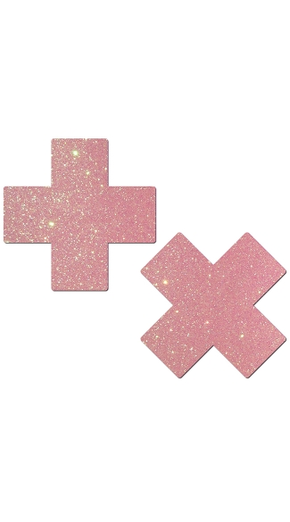 Baby Pink Glittery Cross Pasties, Glitter Nipple Pasties, Cross Nipple Pasties