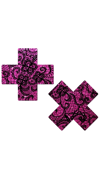 Hot Pink Glitter Cross Pasties with Lace