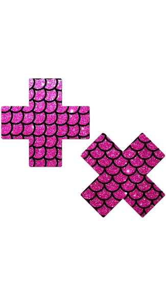 Hot Pink Glittery Cross Pasties With Scales, Glitter Nipple Pasties, Cross Nipple Pasties