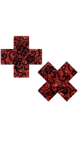 Red Glitter Cross Pasties