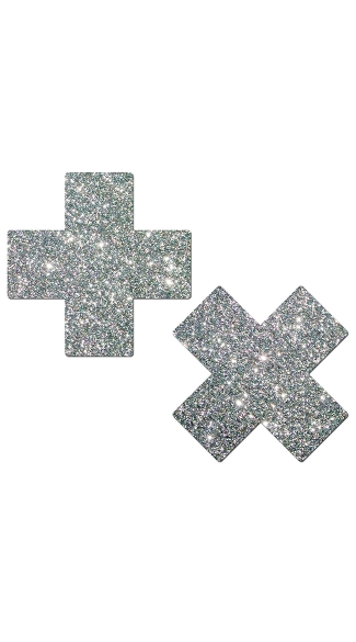 Silver Glitter Cross Pasties, Silver Cross Pasties, Glitter Cross Pasties