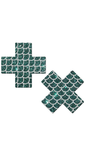 Glittering Green Cross with Silver Scales Pasties