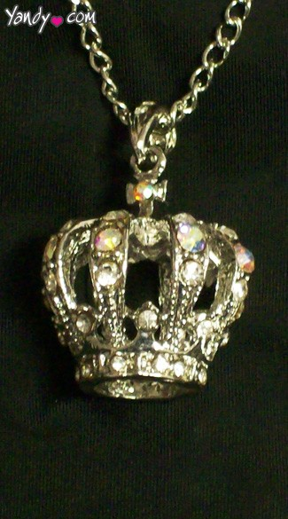 Rhinestone Queen Crown Necklace