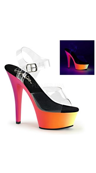 6 Inch Clear Strappy Sandal with  Black Light Reactive Platform, Sexy Neon High Heels, Clear Strappy Neon Heel