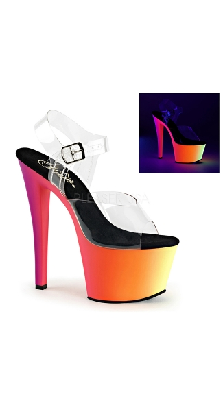 Black Light Reactive Clear 7 Inch Platform Sandal