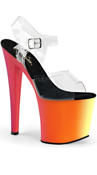 Neon UV Reactive Platform Heel, Rainbow Platforms, UV Reactive High Heels
