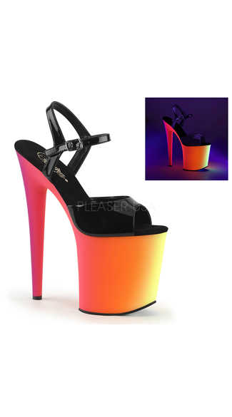 Neon Love Platform Sandal, Sky High Black Light Reactive High Heel, Black Sandal with Neon Platform