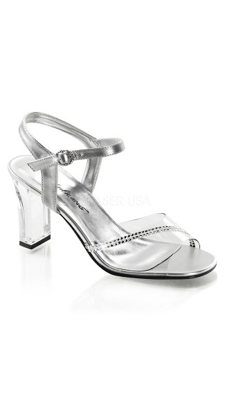 Clear Square Heel Sandals